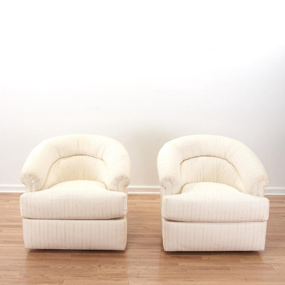 Karl Springer style upholstered club chairs