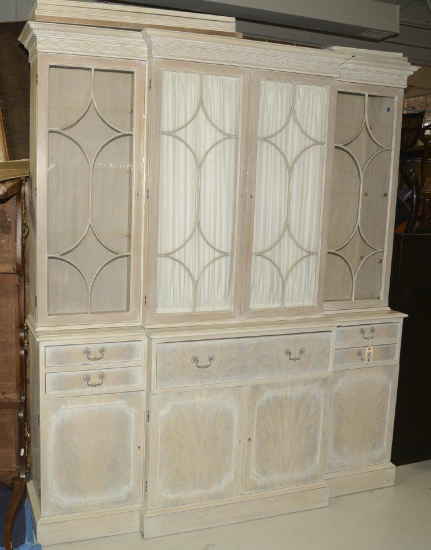 Bleached mahogany breakfront bookcase