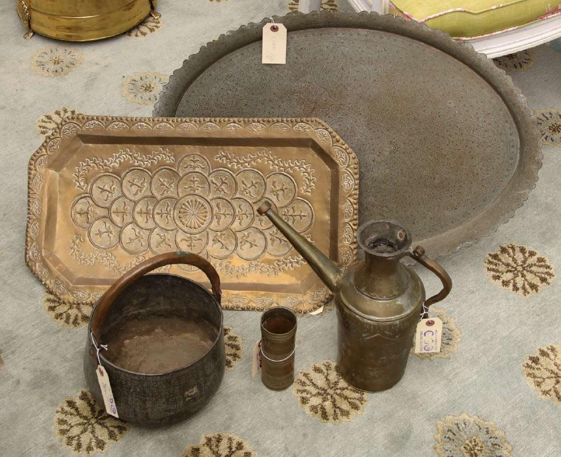(5) pieces Indo-Persian tinned copperware