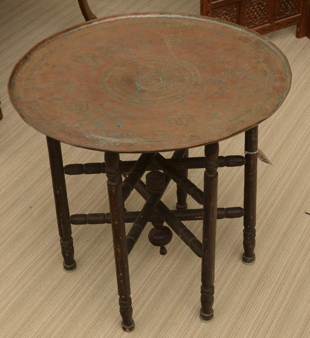 Old Middle Eastern copper tray on stand