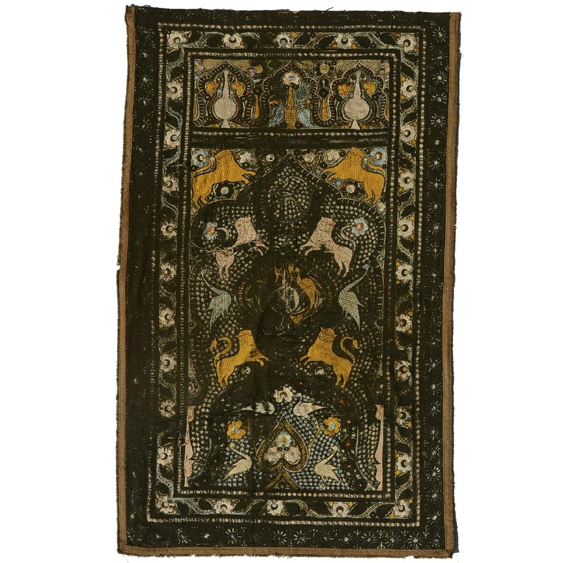 Indo-Persian embroidered silk tapestry