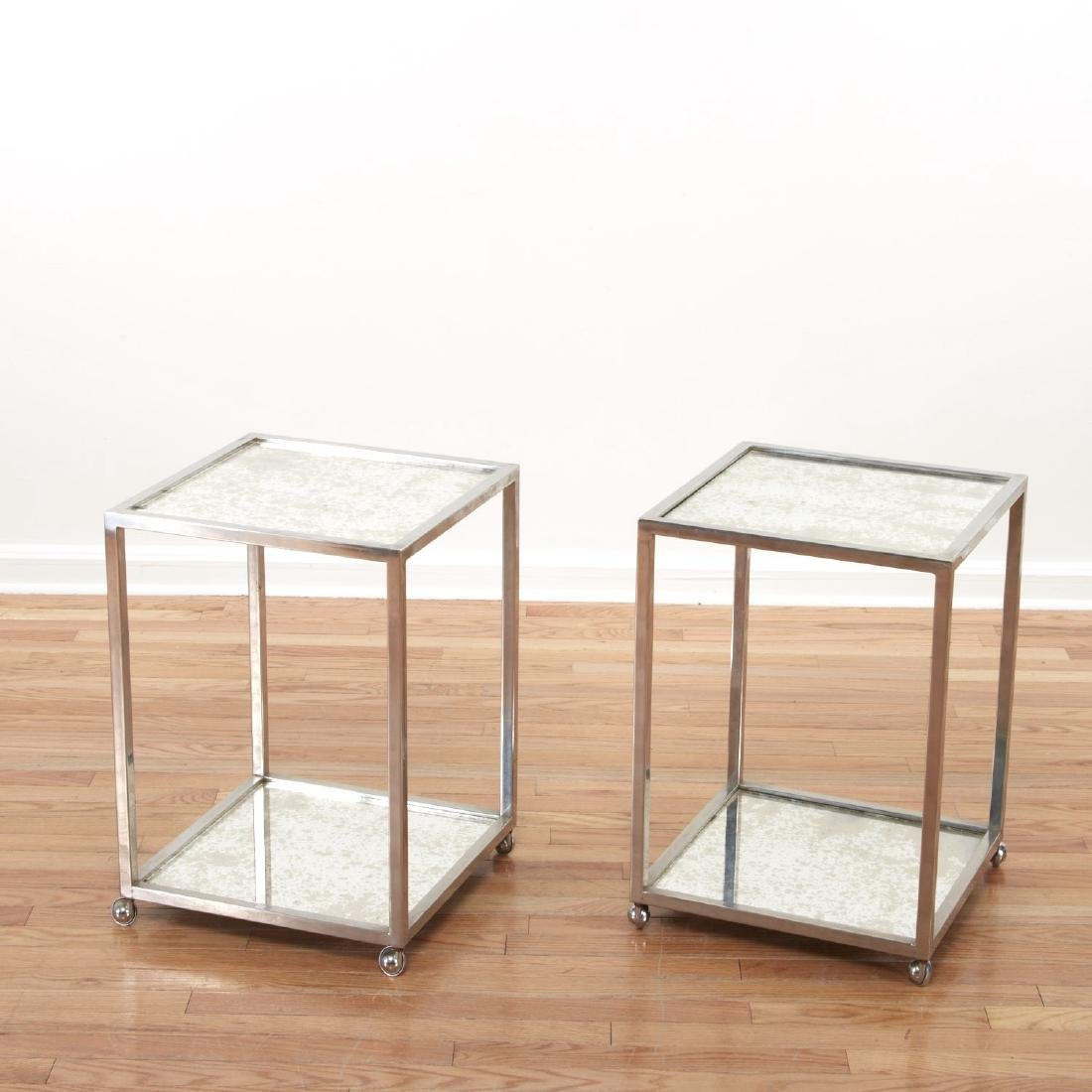 Pair chrome and smoked mirrored side tables
