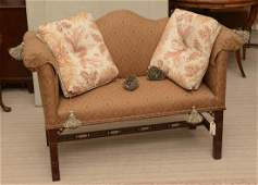 Chippendale style mahogany camelback bench