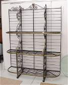 Large French wrought iron, brass baker's rack