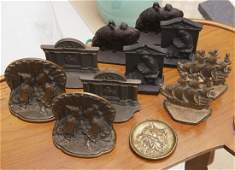 Collection bronze bookends and dog pin tray