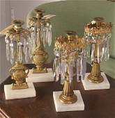 (2) pairs Victorian gilt bronze girandoles