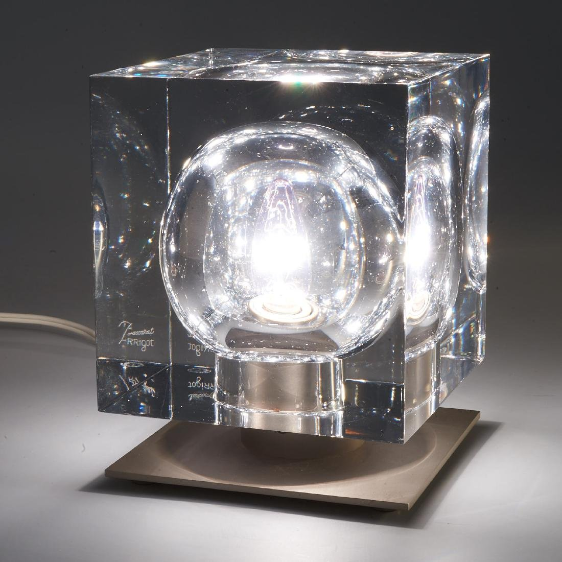 Baccarat crystal and steel lamp by Robert Rigot