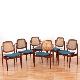 Set (6) Arne Vodder Teak Wood Dining Chairs