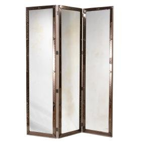 Venetian style three-panel mirrored screen