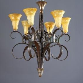 Edgar Brandt style wrought iron chandelier