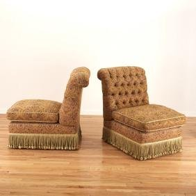 Pair Turkish Revival style armless chairs