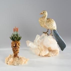 (2) Mid-Century Brazilian mineral specimen models