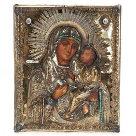 Russian icon of the Tikhvin Mother of God