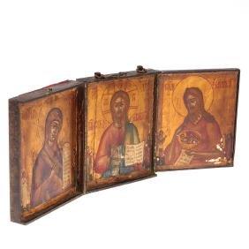 Russian portable icon triptych