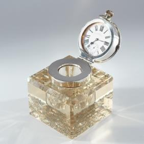 J. Grinsell crystal inkwell with Pocket Watch Lid