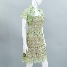 Richard Tyler Couture silk organza lace dress