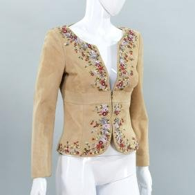 Valentino suede jacket with floral sequin trim