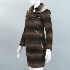 Chanel Couture metallic tweed skirt suit
