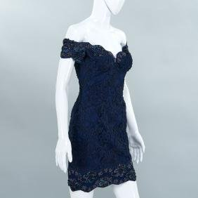 Vicki Tiel Couture navy lace cocktail dress