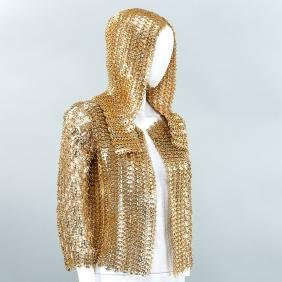 Gold finish chain mail jacket with hood