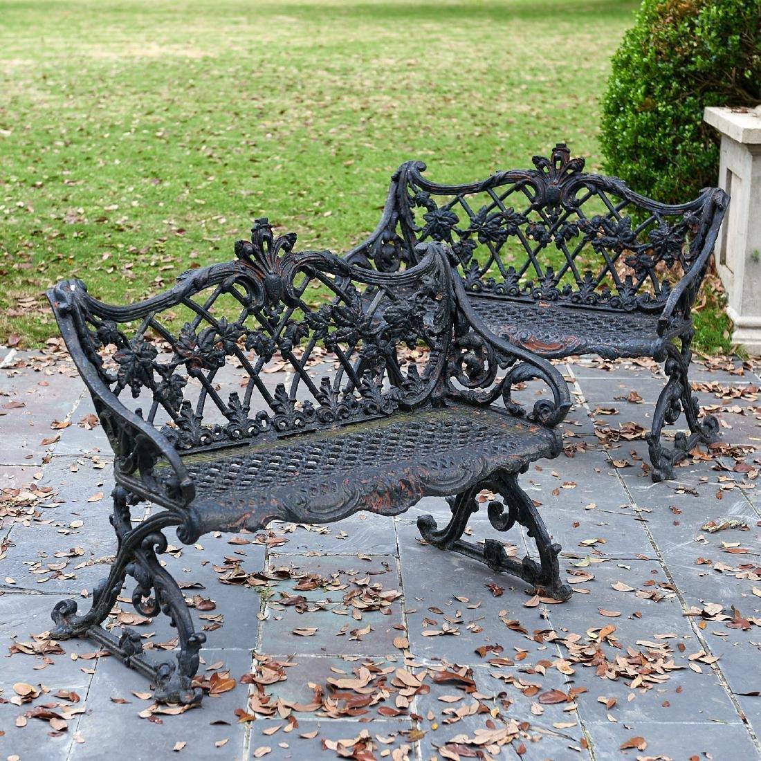 Nice pair antique cast iron garden benches