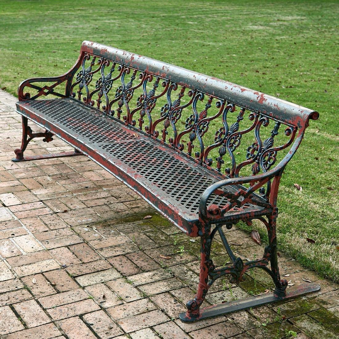 Oversized cast aluminum garden bench