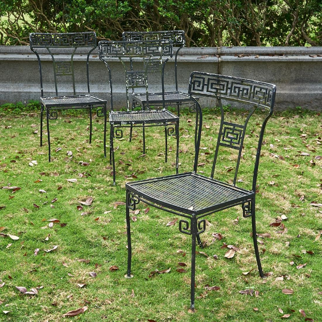 Set (4) Neo-Classical style wrought iron chairs