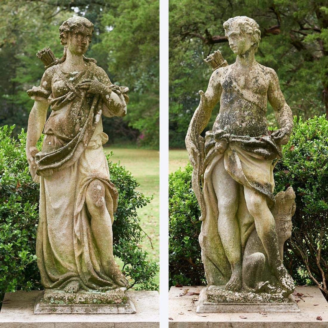 Pair antique cast stone garden figures