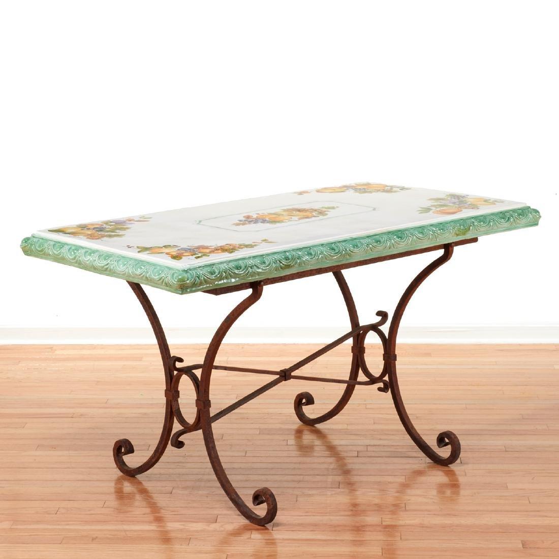 Italian iron and majolica garden table