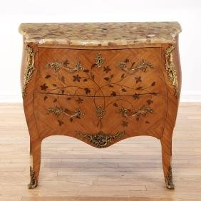 Louis XV style marble top marquetry commode