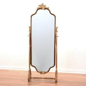 French gilt wood Cheval mirror