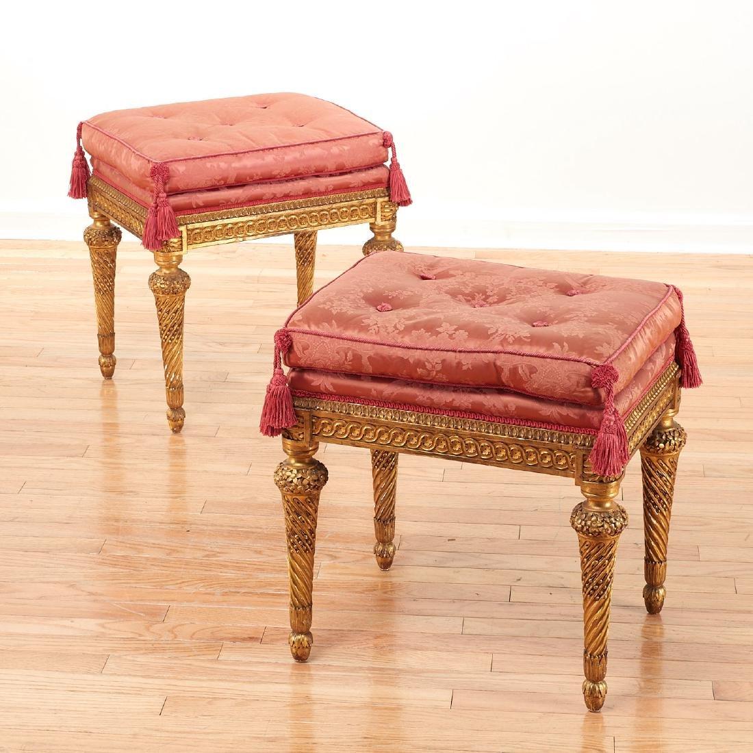 Fine pair Louis XVI giltwood tabourets