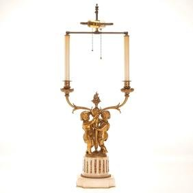 Antique Louis XVI style bronze candelabrum lamp