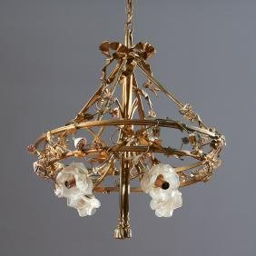 Belle Epoque bronze, porcelain floral chandelier