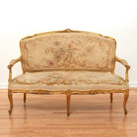 Louis XV style carved giltwood Aubusson settee