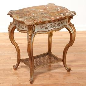 Louis XV style silvered, gilt occasional table