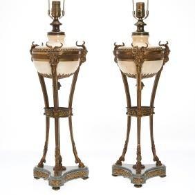 Pair large Louis XVI style cassolette lamps