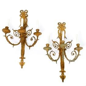 Pair French bronze Louis XVI style sconces
