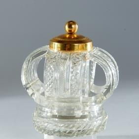 Rare Crown-form cut crystal, gilt bronze inkwell