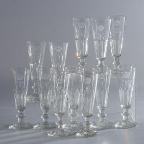 (12) Louis Philippe Service du Roi glass stems