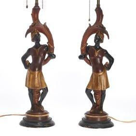 Pair Italian Blackamoor table lamps