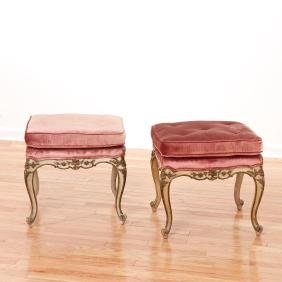 Pair Italian Rococo style painted stools