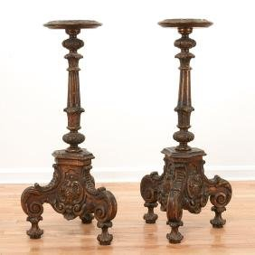 Pair Italian Baroque style carved torchieres