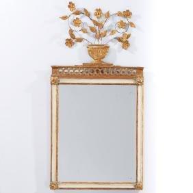 Italian Neo-Classical gilt, painted mirror