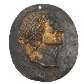 Gilt bronze medallion of Julius Caesar