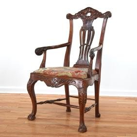 Portuguese Rococo carved hardwood armchair