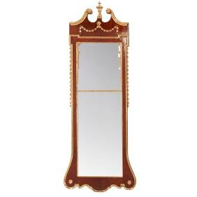 Continental parcel gilt mahogany pier mirror
