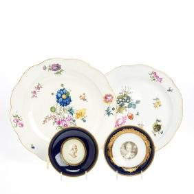Group early Meissen and Marcolini porcelains