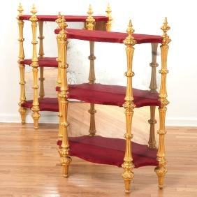 Pair Continental giltwood 3-tier etageres