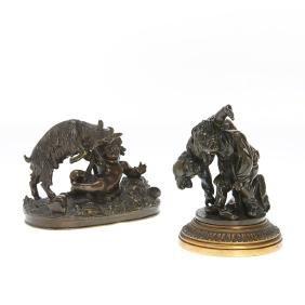 French School, pair bronzes